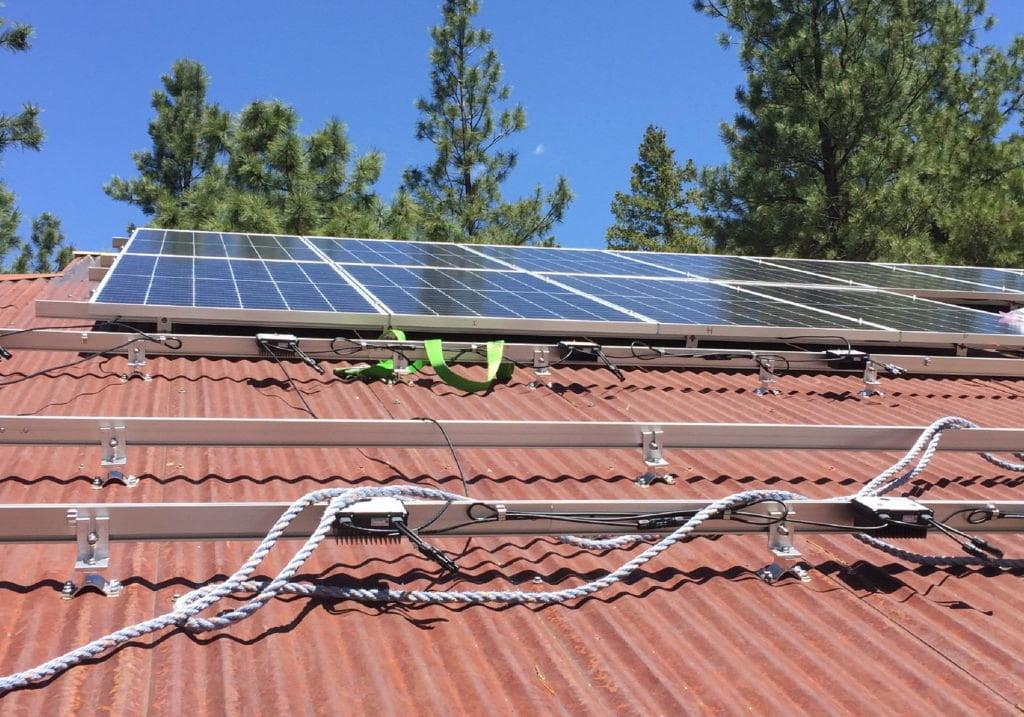 CorruBracket installed on corrugated roofing solar PV rails