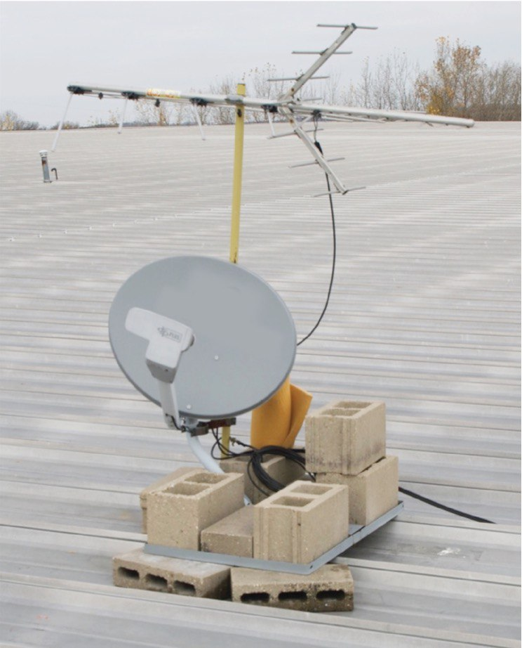 Using ballast to mount a satellite dish on metal roof encourages corrosion